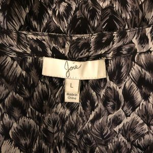 Joie Silk Feather Print Peasant Blouse, size L